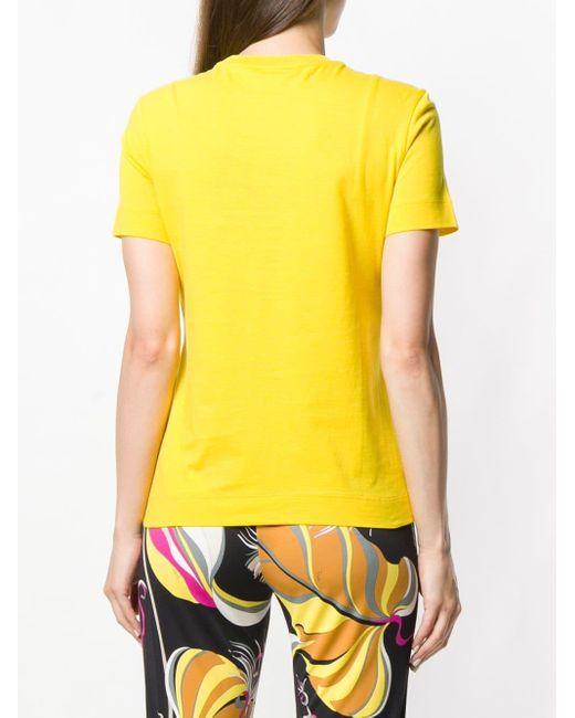 Emilio Pucci ラインストーンロゴ Tシャツ Yellow