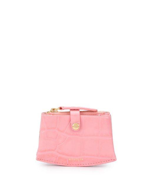 Portafoglio con effetto coccodrillo mini di Wandler in Pink