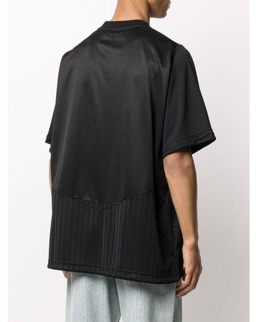 メンズ Martine Rose オーバーサイズ Vネック Tシャツ Black