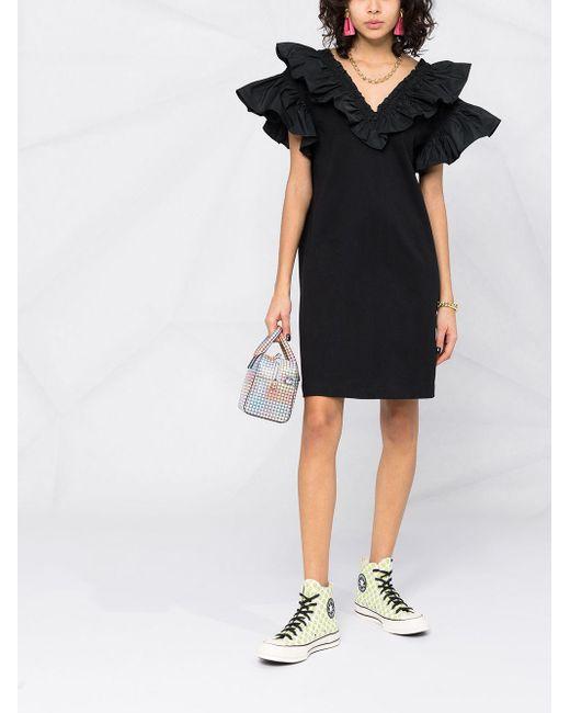 Платье Мини С Оборками MSGM, цвет: Black