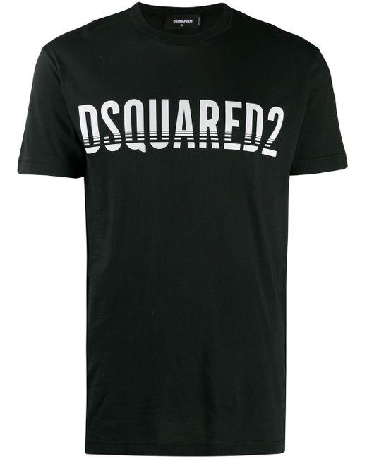 メンズ DSquared² ロゴ Tシャツ Black