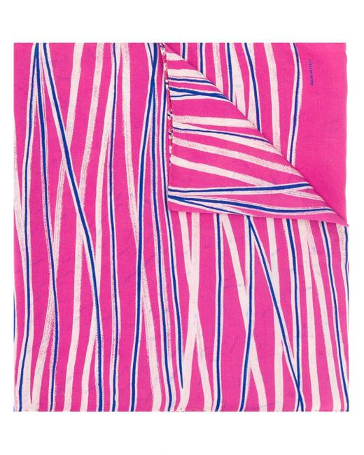 Giorgio Armani Pre-Owned Pink 1980's Crossed Stripes Scarf
