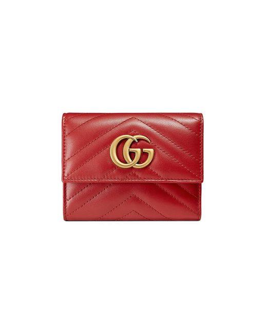 Gucci Red GG Marmont Matelassé Wallet