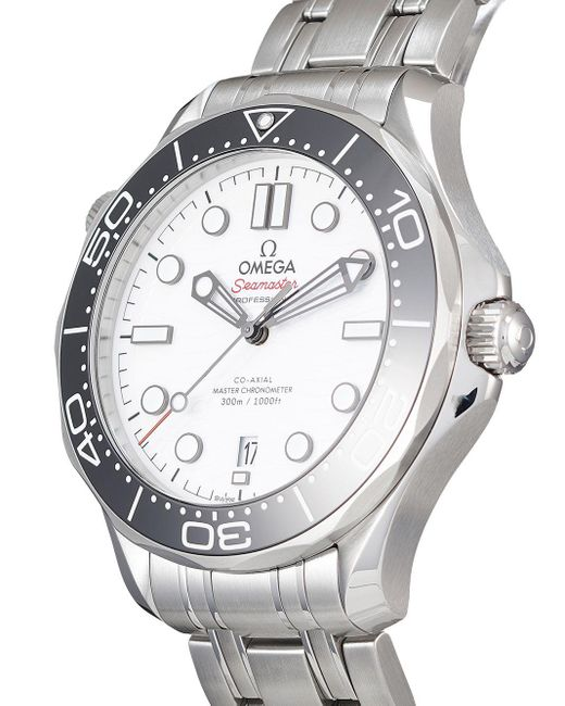 Наручные Часы Seamaster Diver Co-axial Master Chronometer Pre-owned 42 Мм Omega для него, цвет: White