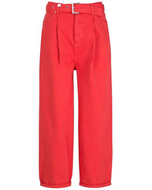 Armani Exchange ハイウエスト ワイドジーンズ Red