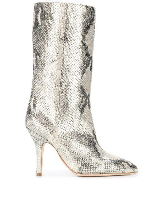 Paris Texas Metallic Snake-effect Boots