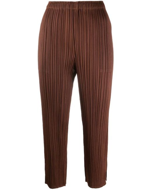 Pleats Please Issey Miyake クロップドパンツ Brown
