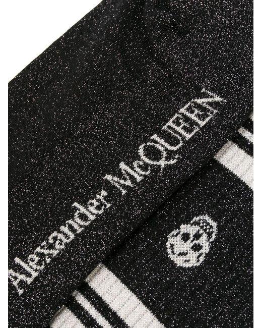 メンズ Alexander McQueen ロゴ 靴下 Black
