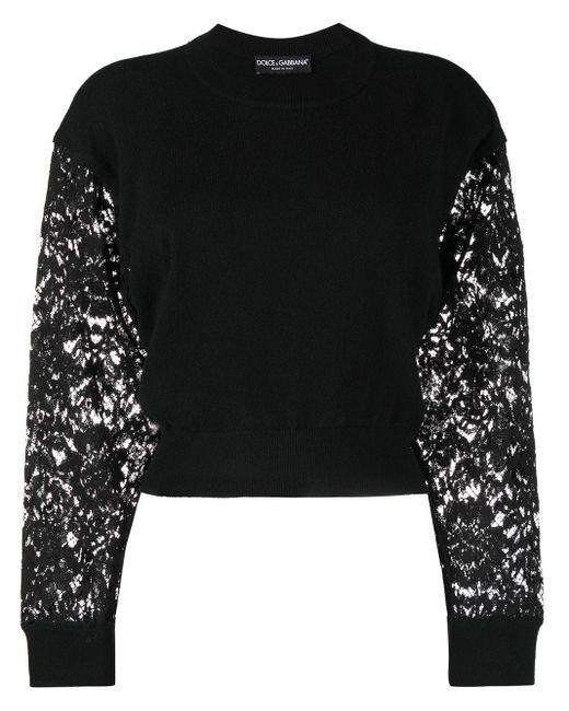 Dolce & Gabbana レーススリーブ クロップドトップ Black