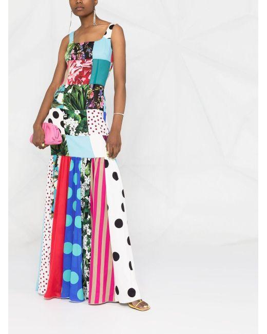 Dolce & Gabbana Blue Patchwork-Kleid aus Chiffon