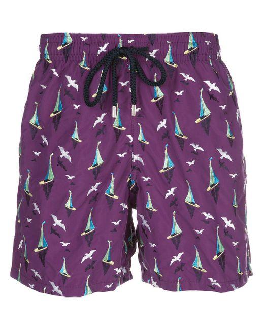 メンズ Vilebrequin プリント トランクス水着 Purple