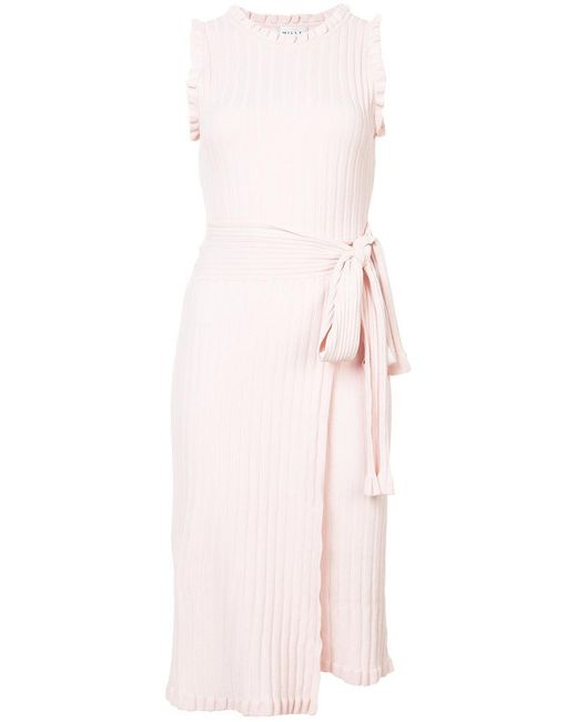 MILLY - Pink Classic Wrap Dress - Lyst