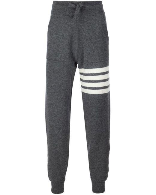 Thom Browne - Gray Stripe Detail Sweatpants for Men - Lyst