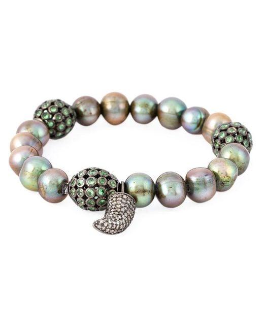 Loree Rodkin | Metallic 18kt White Gold Diamond Horn Pearl Bracelet | Lyst