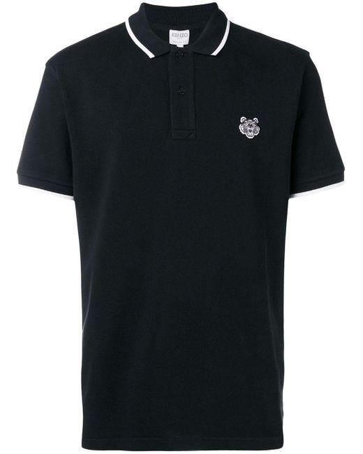 メンズ KENZO タイガーロゴ ポロシャツ Black