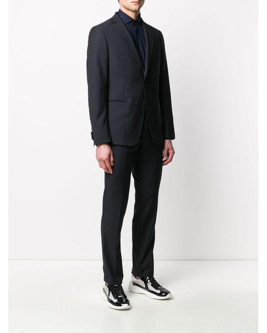 メンズ Z Zegna ピークドラペル スーツ Black