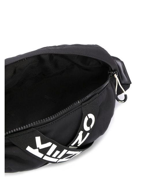 メンズ KENZO ロゴ ベルトバッグ Black