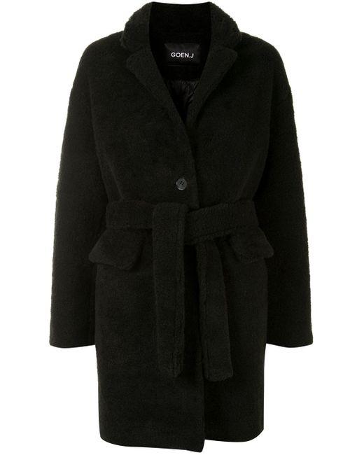 Abrigo texturizado con cintura lazada Goen.J de color Black