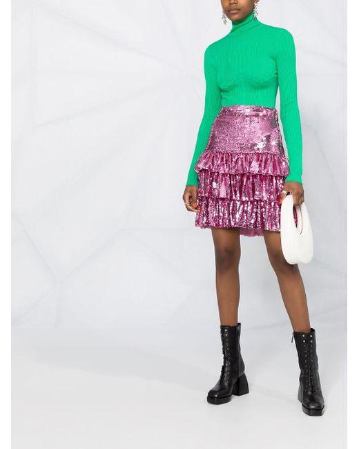 MSGM スパンコール ラッフルスカート Pink