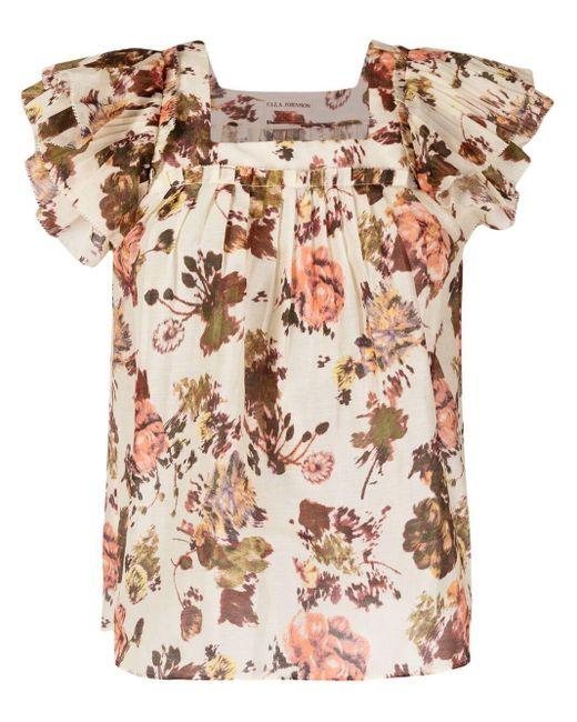 Ulla Johnson Multicolor Kiki Floral Ruffle-sleeve Blouse