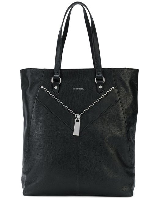 DIESEL - Black Zip-detailed Tote Bag - Lyst