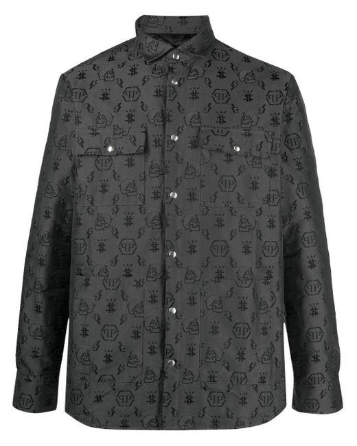 Рубашка С Длинными Рукавами И Монограммой Philipp Plein для него, цвет: Black