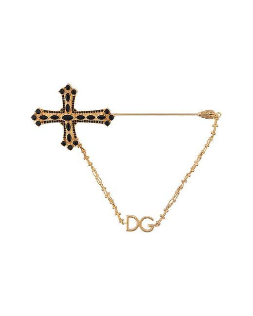 メンズ Dolce & Gabbana クロスモチーフ ブローチ Multicolor