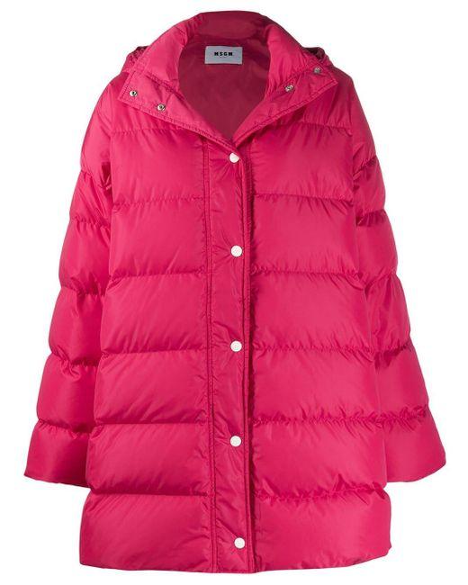 MSGM オーバーサイズ パデッドコート Pink