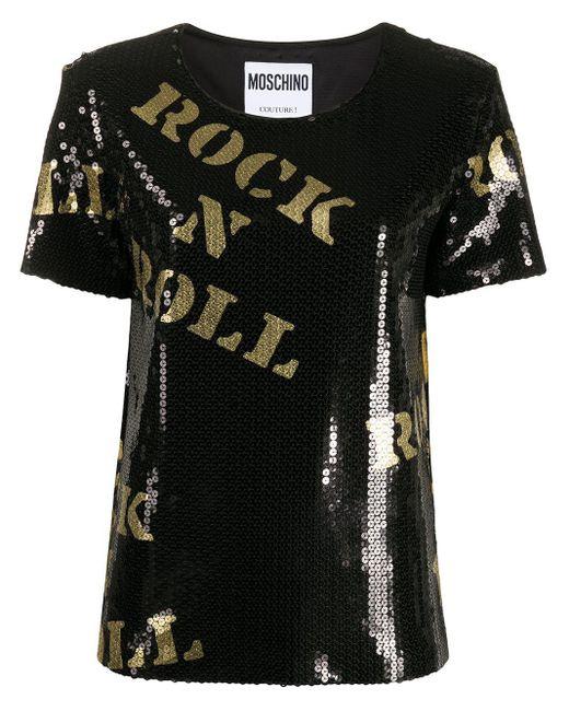 T-shirt à étoile brodée de sequins Moschino en coloris Black