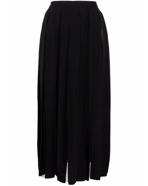 Ermanno Scervino Black Pleated Midi Skirt
