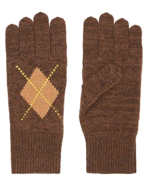 Перчатки Вязки Интарсия С Узором Аргайл Burberry, цвет: Brown