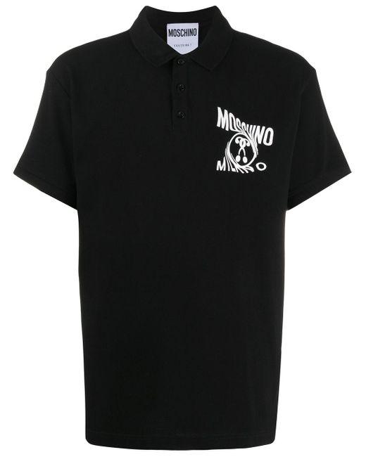 メンズ Moschino ロゴ ポロシャツ Black