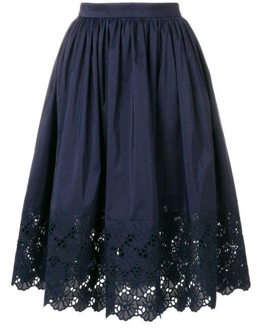 Lanvin フローラルトリム スカート Blue