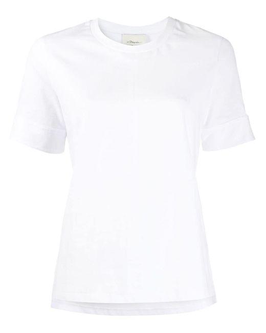 3.1 Phillip Lim Camiseta con botón de presión en los puños de mujer de color blanco 4FVzs