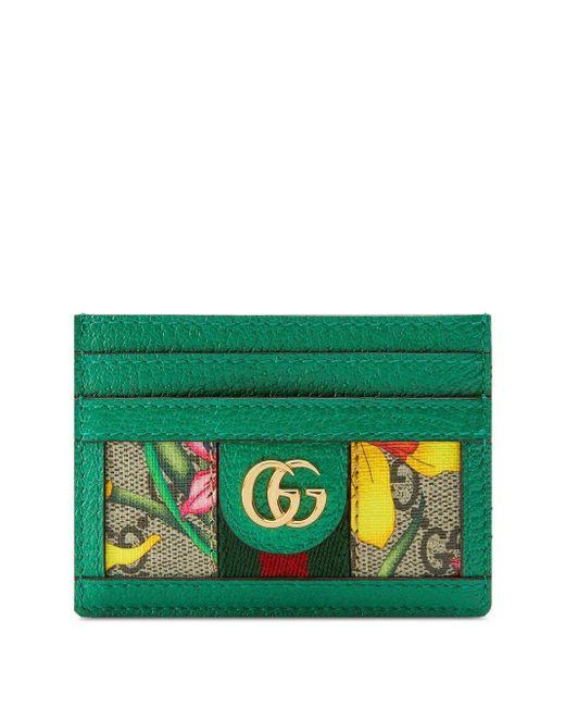 Gucci オフィディア GGフローラ カードケース Green