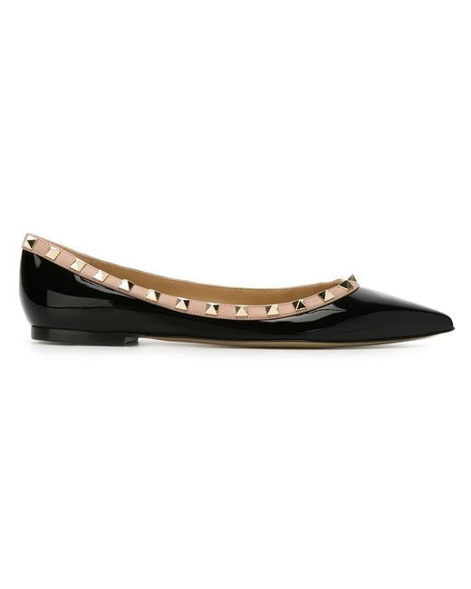 Valentino - Black Rockstud Ballerina Flat - Lyst