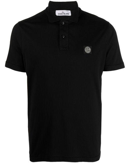 Polo à logo brodé Stone Island pour homme en coloris Black