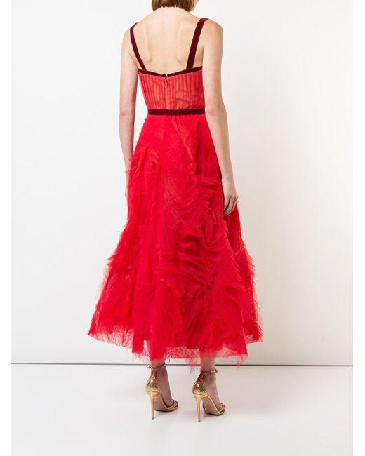 Marchesa notte チュール イブニングドレス Red