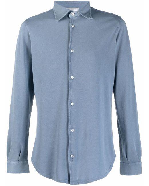 メンズ Fedeli ボタン シャツ Blue