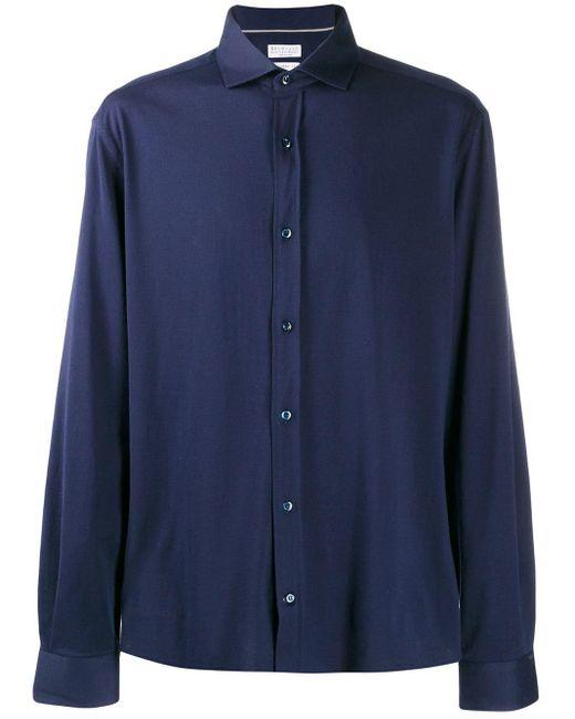 Camisa de textura suave Brunello Cucinelli de hombre de color Blue