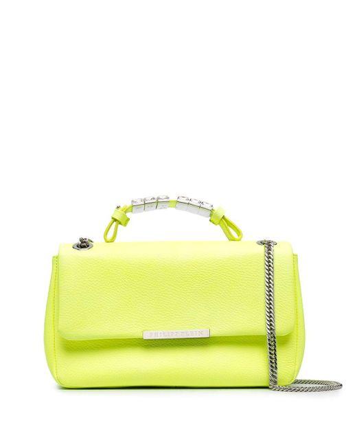 Philipp Plein Yellow Crystal-handle Shoulder Bag