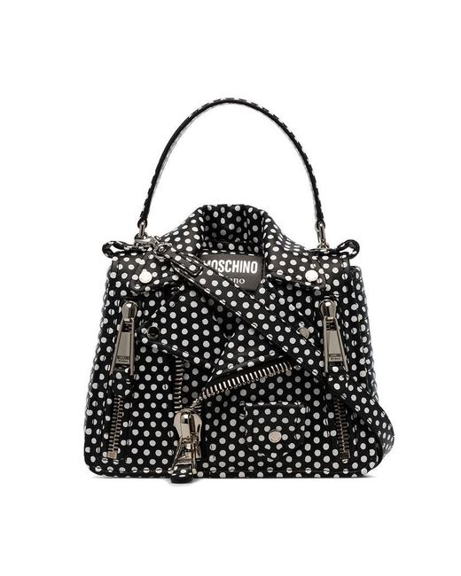 fb6f7885b1e3 Moschino - Black And White Polka Dot Leather Jacket Shoulder Bag - Lyst ...