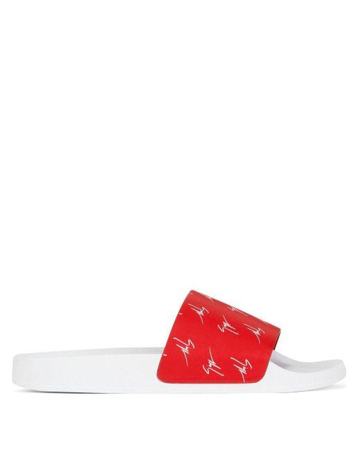 Giuseppe Zanotti Pantoletten mit Logo-Print in Red für Herren