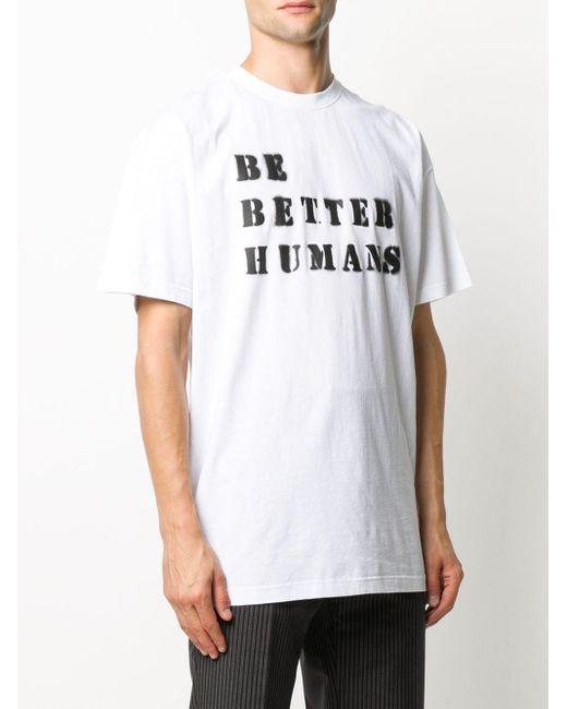 メンズ Vetements スローガン Tシャツ White