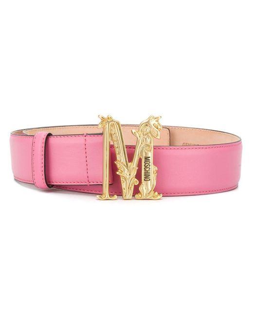 Moschino ロゴ バックル ベルト Pink