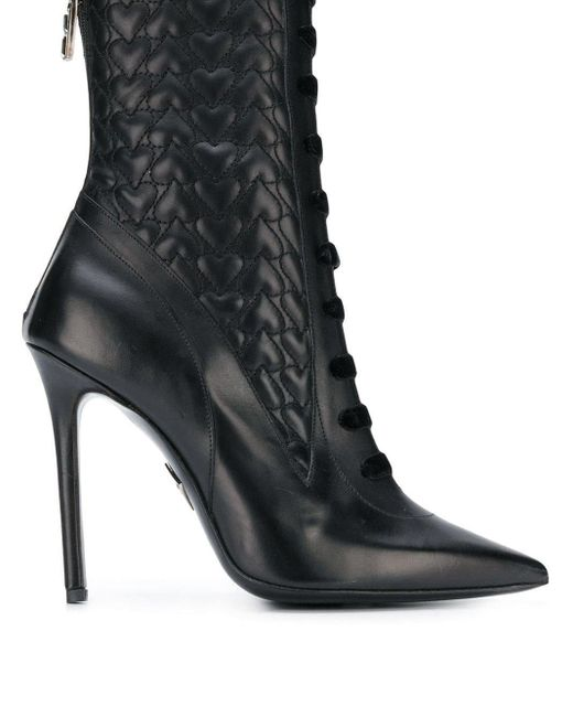 Aperlai Black Hearts Ankle Boots