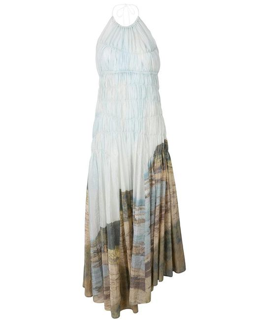 Pringle of Scotland - Multicolor Gathered Landscape Dress - Lyst