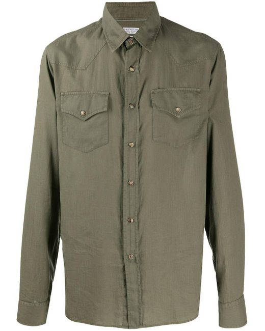 Рубашка С Длинными Рукавами И Карманами Brunello Cucinelli для него, цвет: Green