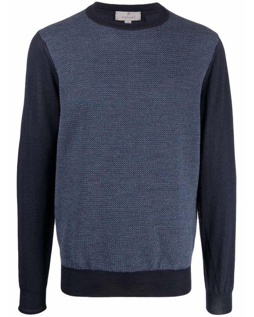 メンズ Canali バイカラー セーター Blue