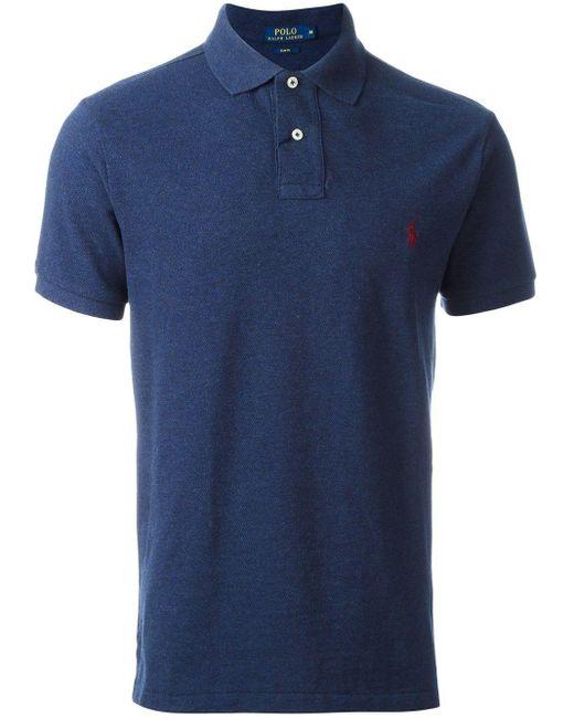 メンズ Polo Ralph Lauren 刺繍ロゴ ポロシャツ Blue